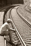 Waiting. Man waiting for the train Royalty Free Stock Photo