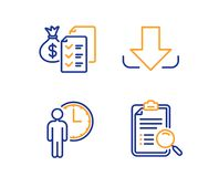 Waiting, Accounting wealth and Download icons set. Search analysis sign. Service time, Audit report, Load file. Vector. Waiting, Accounting wealth and Download vector illustration