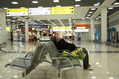 Waiting at the airport Stock Photos