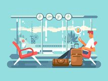 Waiting at airport of departure. Travel and terminal airport, transportation flight, vector illustration Stock Photos