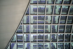 Waiting in airport. Reflection from the glass roof Royalty Free Stock Photo