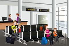 Waiting in the airport. A vector illustration of passengers waiting for their flight at airport Royalty Free Stock Photography