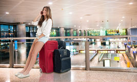 Waiting at the airport Stock Images