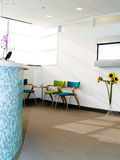 Waiting area. Waiting room with reception desk in blue tile Stock Images