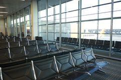 Waiting area. Empty rows of seats at Dulles International Airport royalty free stock photography