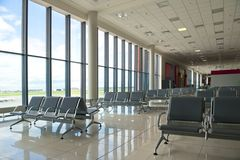 Waiting area at the airport in Moscow Stock Image