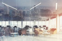 Waiting area in office, brown armchairs, city view Royalty Free Stock Photos