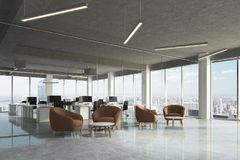 Waiting area in office, brown armchairs, side Stock Photo