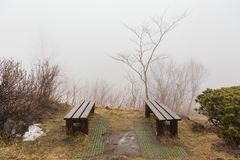 Waiting area with two outdoor chairs and leafless trees with fog at Mount Usu in winter in Hokkaido, Japan.  stock images