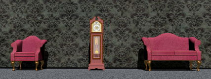 Waiting around the clock - 3D render Royalty Free Stock Images