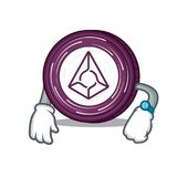 Waiting Augur coin mascot cartoon. Vector illustration Royalty Free Stock Images