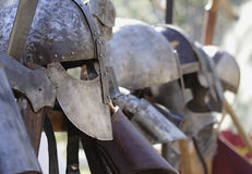 Waiting for battle. Image of medieval soldiers helmets Royalty Free Stock Photography