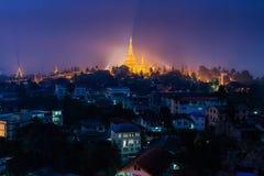 Shwedagon Pagoda, Yangon, Myanmar. Waiting for blue sky and light stock photography