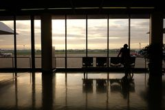 Waiting for boarding. Someone who waiting to boarding Stock Images