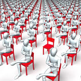 Waiting bored mass. Giant group of red chairs with figures, characters sitting on them, waiting, regular, uniform grid Stock Image