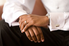 Waiting for the bride. An African-American man stitting down before getting married Royalty Free Stock Image