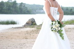 Waiting Bride. A bride waiting by the lake Stock Image