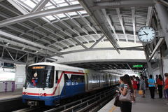 Waiting for BTS sky train Stock Photography