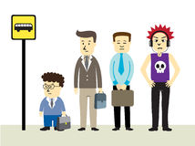 Waiting at Bus Stop. Vector illustration showing businessmen waiting for bus Stock Illustration