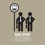 Waiting at a Bus Stop. Vector Illustration Royalty Free Stock Image