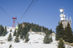 Waiting for the cable cabin. At 1400 m altitude in Sinaia, Romania Royalty Free Stock Photography