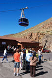 Waiting for the cablecar. Group of people waiting for the cablecar at volcano Teide, Tenerife, Spain Stock Photo
