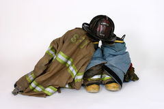 Waiting for the call. Fireman's gear Stock Image