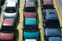 Waiting cars. Cars in lines. Seen from above Royalty Free Stock Image