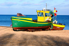 Waiting for a catch. Fishing boats on the beach in Gdynia, Poland Royalty Free Stock Images
