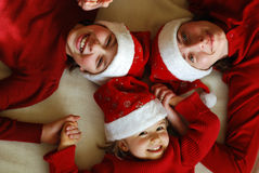 Waiting for christmas. Mother with her daughters waiting celebrate Christmas stock photo