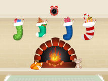 Waiting for Christmas. Illustration of Christmas Card with fireplace and stockings Stock Photos