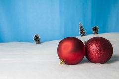 Waiting for Christmas. With snow and goodies Royalty Free Stock Photography