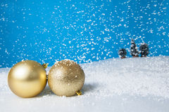 Waiting for Christmas. With snow and goodies Stock Image