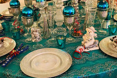 Waiting for christmas. Table prepared for christmas dinner Royalty Free Stock Photo