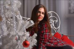 Portrait of beautiful young woman is near Christmas tree stock images