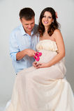 We are waiting for completion of the family. Husband and pregnant wife Royalty Free Stock Photo