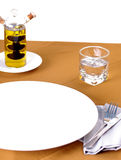 Waiting concept, Blank white dish on table Stock Photography