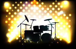 Waiting for concert. Vector drum kit on stage before concert, eps10 file, gradient mesh and transparency used Stock Photos