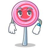 Waiting cute lollipop character cartoon. Vector illustration Royalty Free Stock Photo