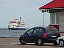 Waiting for departure. Cars at the port waiting for ship to leave the island stock images