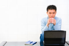 Waiting while drinking coffee Royalty Free Stock Images