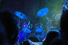 Waiting for drummer. Drum set on the stage. Live concert of popular rock band Stock Image