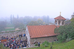Waiting for an early morning procession at the church Ruzica in Belgrade Stock Photo