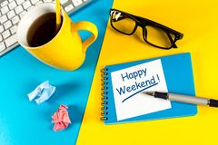 Waiting for the End of the Week at office and wish Happy Weekend. Top View.  Stock Images