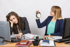 Waiting for the end of working hours by two employees of the office. Two young beautiful girls colleagues sitting at the same desk in the office Stock Photos