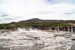 Waiting for eruption of Geysir Stock Photography