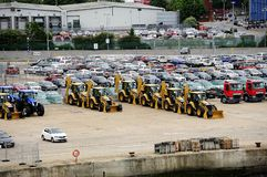 Waiting for export. Lines of vehicles awaiting export Royalty Free Stock Photography