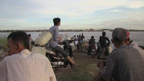 Waiting, ferry boat, mekong,cambodia, southeast asia stock footage