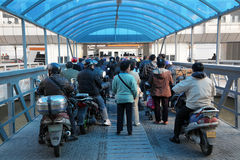 Waiting for the ferry, Shanghai Stock Photo