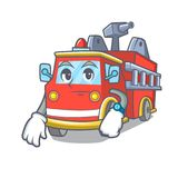 Waiting fire truck mascot cartoon. Vector illustration Stock Image